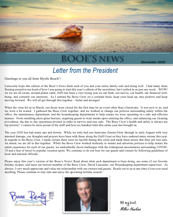 Booe Realty Newsletter