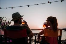 A couple enjoy outdoor dining in Myrtle Beach