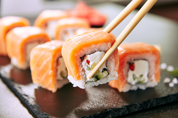 Sushi is on the menu at this restaurant