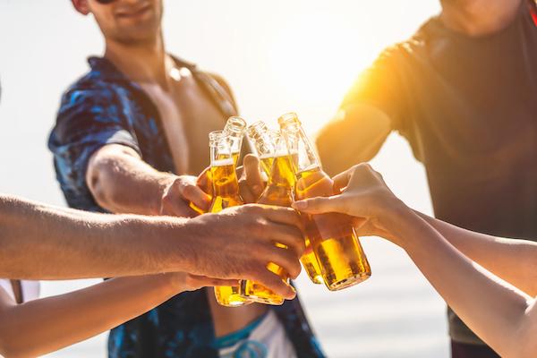 Friends drink a beer in Myrtle Beach