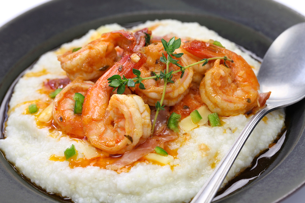 Enjoy shrimp and grits at the Liberty Tap Room
