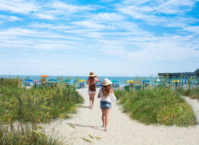 Girls walking on Myrtle Beach